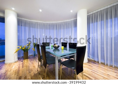 classy open plan dining area in a penthouse