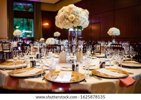 Classy wedding setting.Table setting. Reception setting