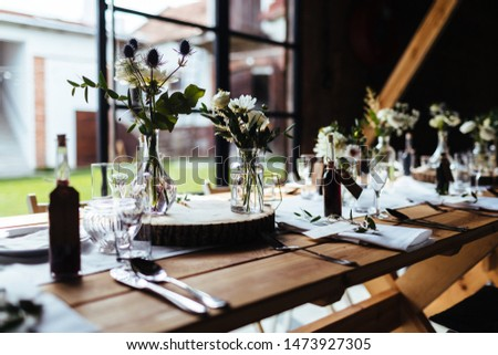 Classy wedding setting.Table setting with a beautiful view.