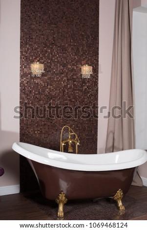 Claw-foot tub in a luxurious bathroom #1069468124