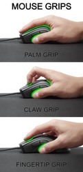 Claw grip, fingertip grip and palm grip of a mouse. Mouse grips. Holding a computer mouse. Visualisation of a mouse grip.