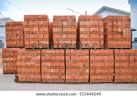 clay brick stored for building construction