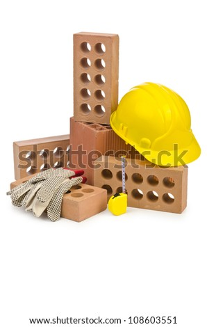 Clay bricks isolated on the white #108603551
