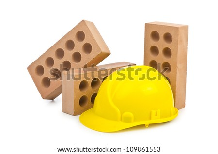 Clay bricks isolated on the white