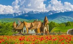Clay Castle of the Valley of Fairies, Porumbacu village, Sibiu landmark, Romania