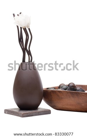 Clay decorative vase with special branches for fragrance.