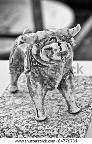 Clay figure of a bull