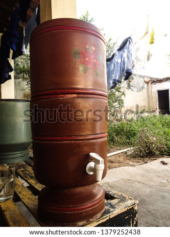 Clay filter used to filter water, widely used in northeast Brazil and is considered a great way to obtain water of excellent quality. The clay filter is a genuinely Brazilian creation. in April 2019. #1379252438