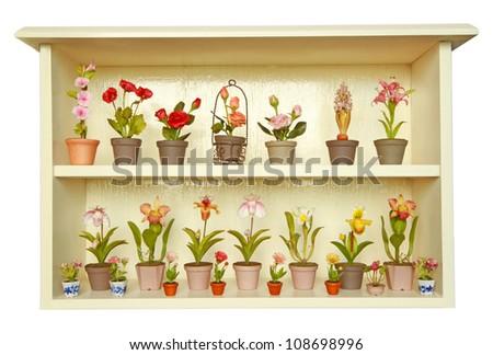 Clay flower in flower cabinet