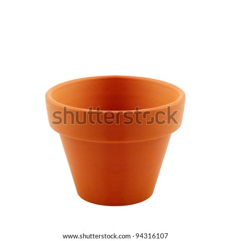 clay garden pot isolated on white background,