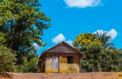 Clay house and thatched roof in an Amazonian riverside community on the banks of the Tapajós River - State of Pará, Brazil
