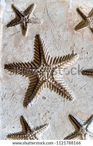 Clay imprints of starfish #1121788166