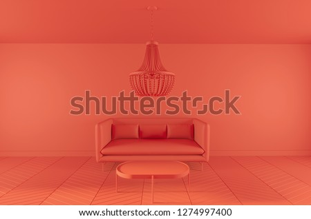 Clay interior rendering, lving room in modern minimalistic style 3D illustration