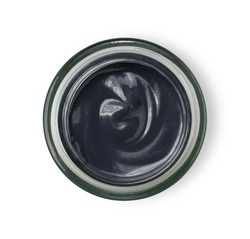 Clay or charcoal mud cream in jar isolated on white background.  Beauty spa, skin care face mask concept.Top view. Flat lay. Clipping path.