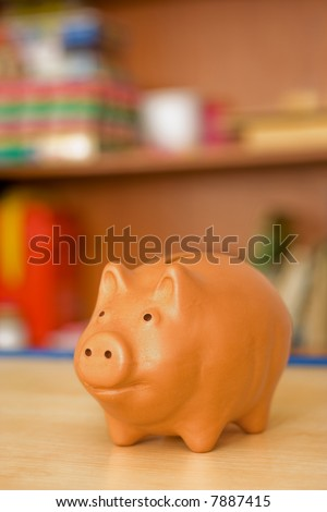 Clay piggy bank in the children's room