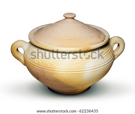Clay pot for cooking isolated on white