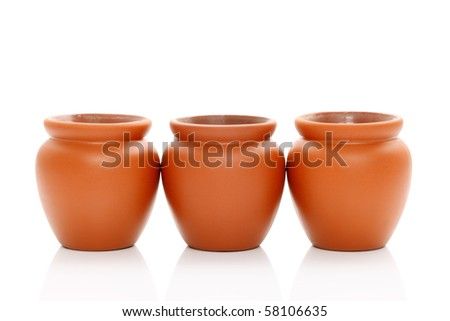 Clay pot isolated on white background - stock photo