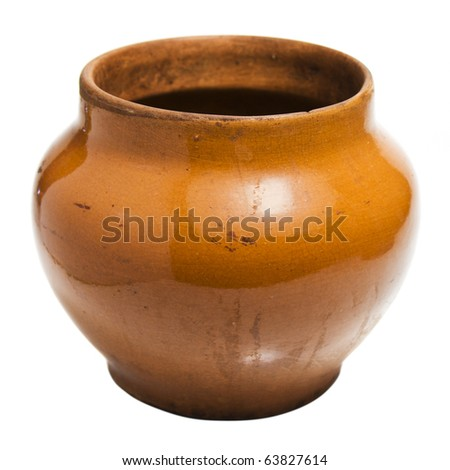 clay pot on white background