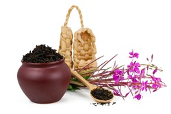 Clay pot with dry tea, bast shoes and blooming Chamerion angustifolium (common names: fireweed, great willowherb, rosebay willowherb) plant isolated on a white background.