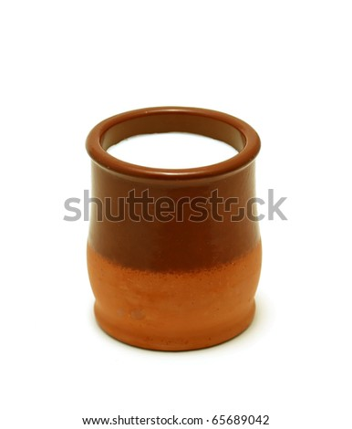clay pot with milk
