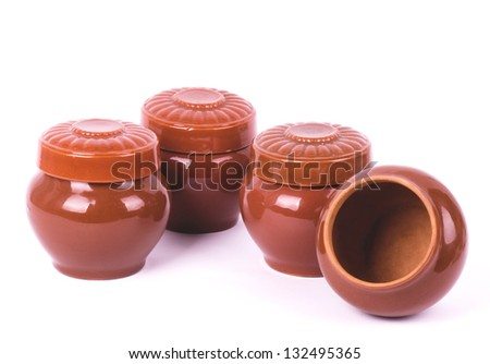 Clay pots isolated on white background