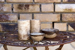 clay pots on a metal table  handmade pottery