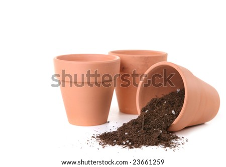 Clay Pots Waiting To Be Planted With Seeds for Springtime