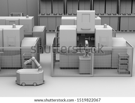 Clay rendering of mobile robot passing CNC robot cells in factory. Smart factory concept. 3D rendering image.