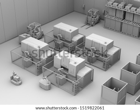 Clay rendering of mobile robots passing CNC robot cells in factory. Smart factory concept. 3D rendering image.
