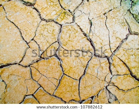 Clay soil with cracks without water soil erosion