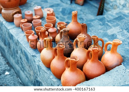 clayware souvenirs sold on a local market in the old town of Sheki, Azerbaijan on Karavan Saray street Stok fotoğraf ©