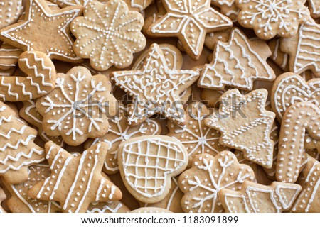Clazed decorating gingerbread homemade cookies for christmas
