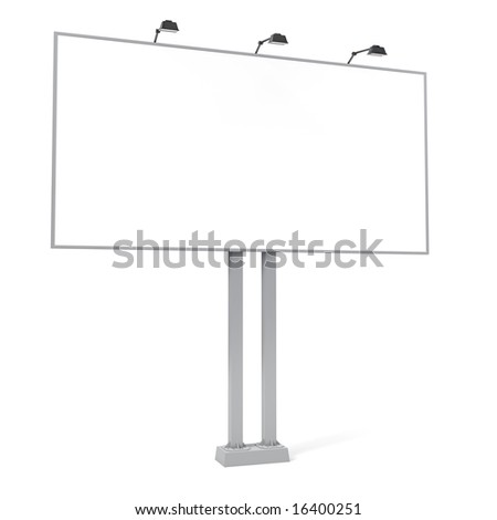 clean advertising billboard isolated on white