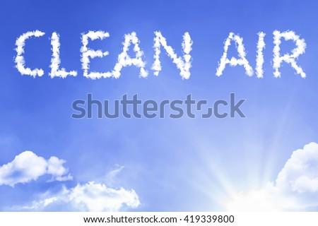Clean Air cloud word with a blue sky