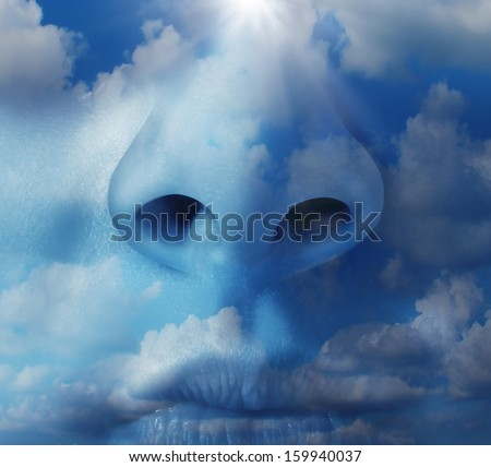 Clean air environment concept as a human nose with a blue sky texture as a symbol of respiratory illnesses and environmental health  concerns in regards to airborne pollution and greenhouse gases.