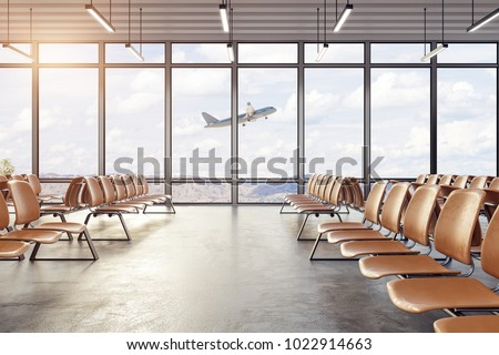 Clean airport waiting area interior with seats and windows with landscape view. Travel and lifestyle concept. 3D Rendering
