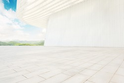 Clean and bright architectural space, modern architecture with a sense of technology.