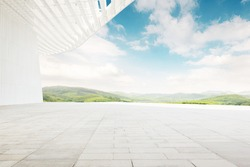 Clean and bright outdoor architectural space, modern architecture with artistic sense.