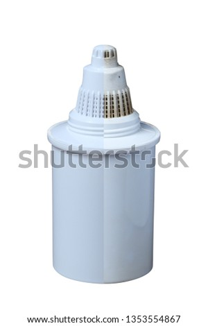Clean and Dirty filters for cleaning drinking water isolated on white background. Purification of drinking water at home #1353554867
