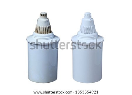 Clean and Dirty filters for cleaning drinking water isolated on white background. Purification of drinking water at home #1353554921