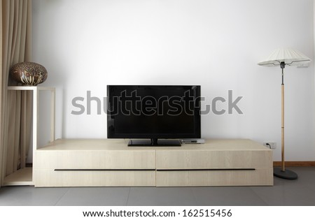 Clean and elegant home interior.TV wall
