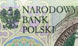 clean and new banknote worth one hundred Polish zlotys, close-up of cash Polish money on the front side, obverse of zlotys