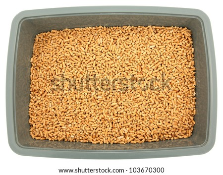 clean and new unused pine pellet cat litter box over white stock photo 103670300 shutterstock. Black Bedroom Furniture Sets. Home Design Ideas