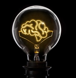 Clean and shiny lightbulb with a brain as a glowing wire.(series)