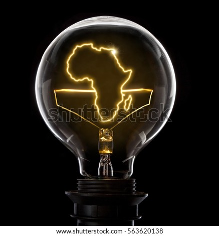 Clean and shiny lightbulb with Africa as a glowing wire.(series) #563620138