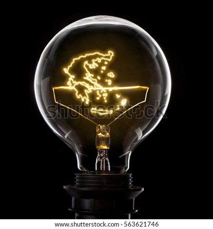 Clean and shiny lightbulb with Greece as a glowing wire.(series) #563621746