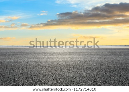 Clean asphalt highway and beautiful sky clouds at sunset #1172914810