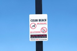 Clean beach no litter dog fouling sign