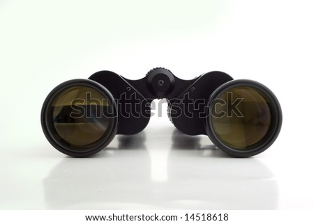 Clean black viewing binoculars on white background