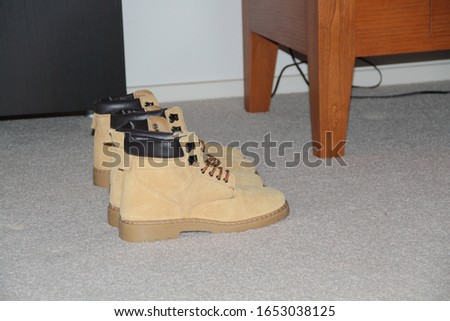 Clean boots sitting on carpet
